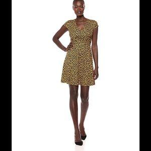 Lark & Ro Navy Mustard Tulip Dress XS